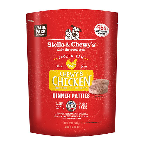 Stella & Chewy's Dog Frozen Raw, Chewy's Chicken Patties, 12 Pounds