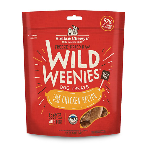 Stella & Chewy's Freeze-Dried Raw Chicken Wild Weenies Dog Treats, 3.25 Ounces
