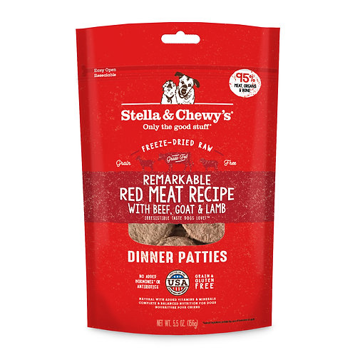 Stella & Chewy's Dog Freeze-Dried Raw, Red Meat Dinner Patties, 5.5 Ounces