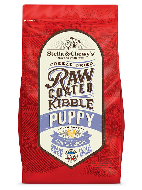 Stella & Chewy's Dog Raw Coated Kibble, Cage-Free Chicken for Puppies, 10 Pounds