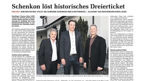 SCHENKON LÖST HISTORISCHES DREIERTICKET