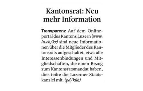 NEUE INFORMATIONEN ÜBER DIE MITGLIEDER DES KANTONSRATS