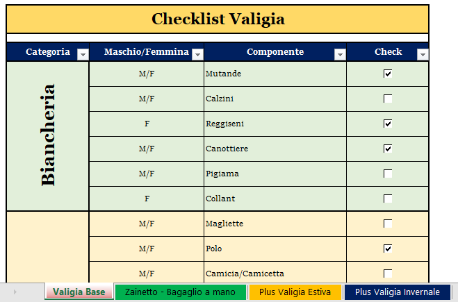 Checklist valigia in Excel
