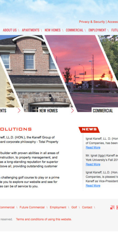 Website for Kaneff Corporation