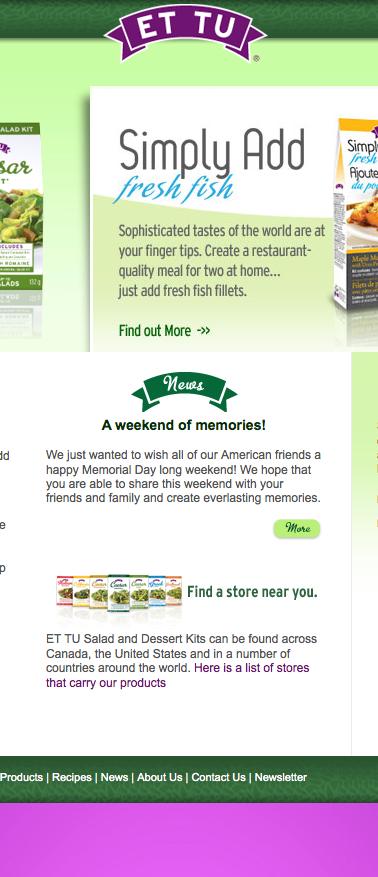 Website for Et Tu Salad Kits