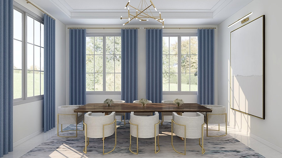 Ivory and French Blue Dining Room