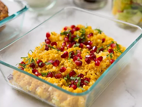 WOW Recipe: Minty Cauliflower Rice with Pomegranate Seeds and Turmeric