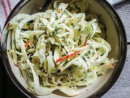 WOW Recipe: Fresh Mint, Apple and Fennel Slaw Topped with Crushed Pistachios