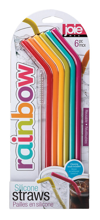 Joie Silicone Straws with Cleaning Brush, Set of 6