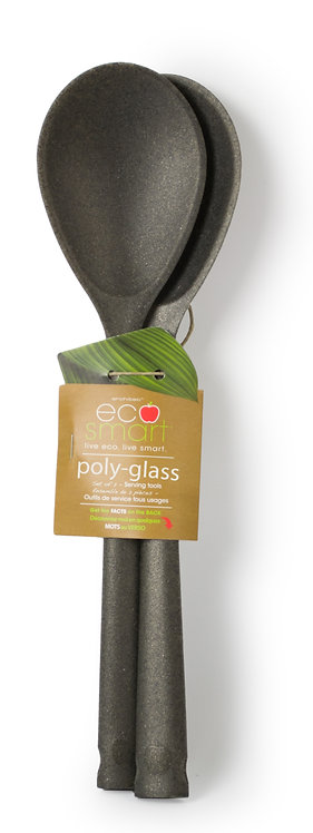 EcoSmart PolyGlass Serving Spoons, Set of 2, Black