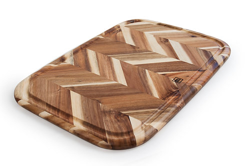 "Herringbone Acacia Board with Groove 13"" x 19"""