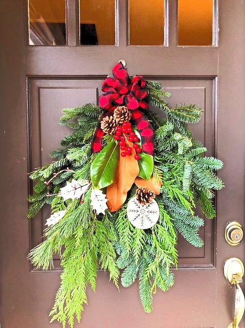 custom evergreen door swag