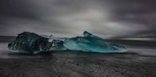 Icebergs on the ice beach in Iceland