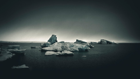 Icebergs and fog at the glacier lagoon in Iceland