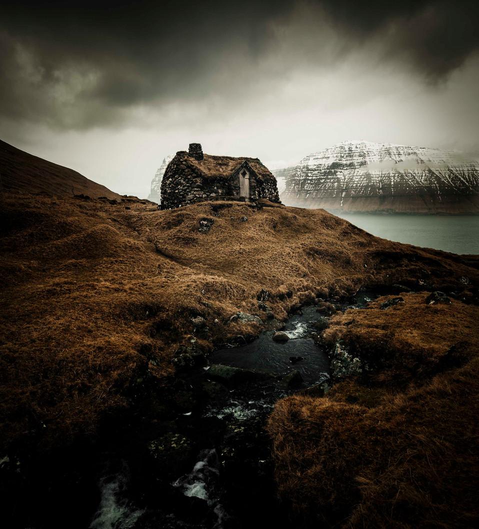 Moody cabin in the faroe Islands