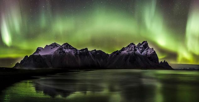 Aurora Boreails over Vestrahorn in Iceland