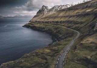 Road alnd the fjords in the Faroe Islands