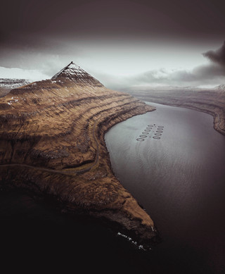 Aerial view of a fjord in the Faroe Islands