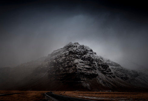 Moody skies over an mountain in Iceland