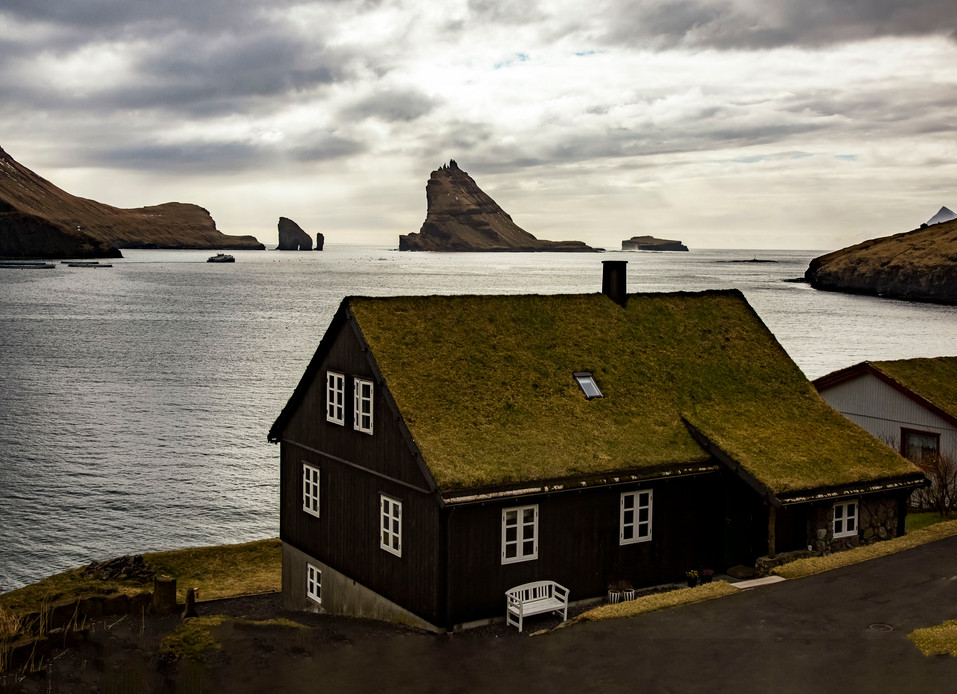 A view of the island Tindholmur in the Faroe Islands