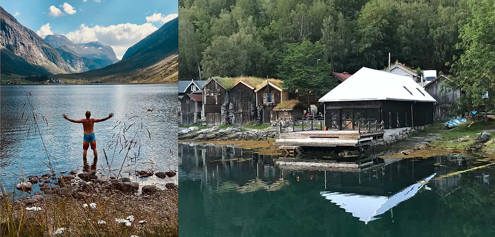 Svalkande bad i glaciärsjöar och fiskebodar