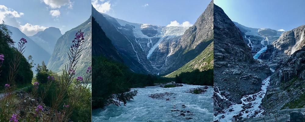 Kjenndalsbreen som långsamt rinner ut från det jättelika isfältet Jostedalsbreen