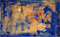 Left Over Salmon on a Blue Plate 30x48-Ingrid Cohen