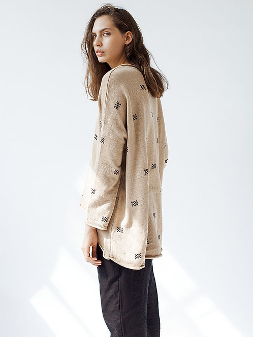 Oversized Camel Squares Sweater