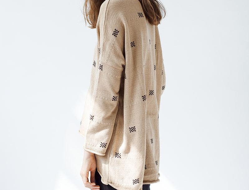 Oversized Camel Squares Sweater