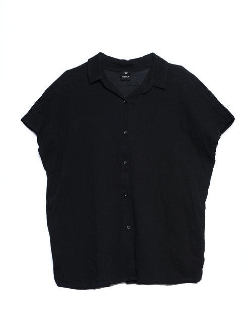 Textured Cotton Buttoned Blouse