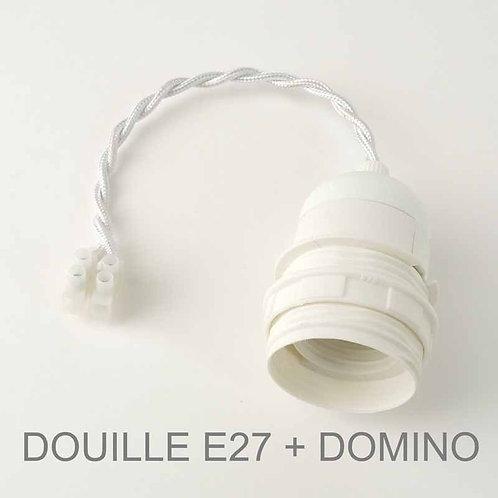 Douille E27+fil+domino pour branchement d'applique murale.