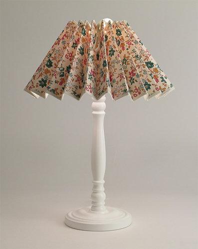 Pied de lampe Colibri avec Abat-jour plissé petites fleurs rose.