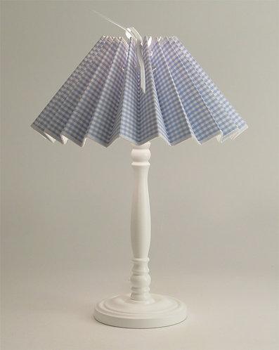 Pied de lampe Colibri avec Abat-jour Vichy Bleu.