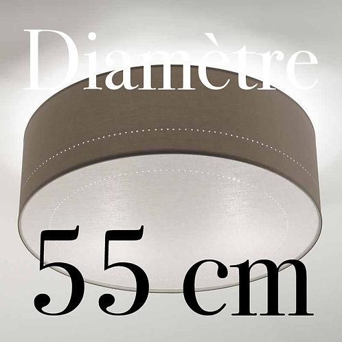Plafonnier Tambour diamètre 55 cm avec écran Lin blanc.
