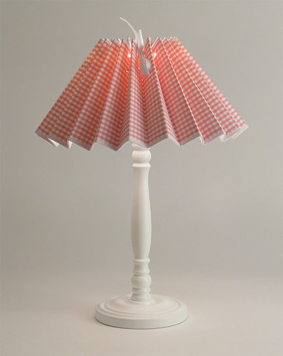 Pied de lampe Colibri avec Abat-jour Vichy Rose.