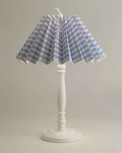 Pied de lampe Colibri avec Abat-jour Gros Vichy Bleu.