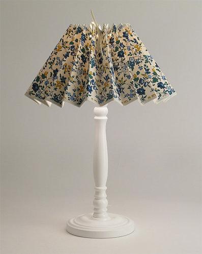 Pied de lampe Colibri avec Abat-jour plissé petites fleurs bleu.