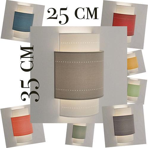 Applique murale double demi-cylindre tissu 80 coloris.