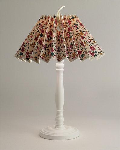 Pied de lampe Colibri avec Abat-jour plissé petites fleurs rouge.