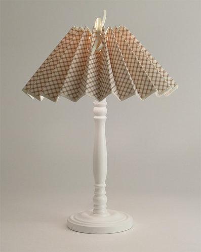 Pied de lampe Colibri avec Abat-jour plissé Croisillons beige.