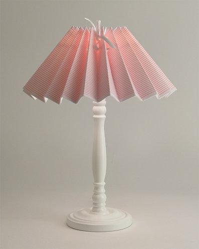 Pied de lampe Colibri avec Abat-jour Petites Rayures Rose.
