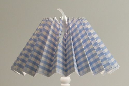 Abat-jour plissé Gros vichy bleu
