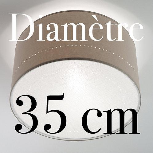 Plafonnier Tambour diamètre 35 cm avec écran Lin blanc.