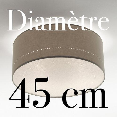 Plafonnier Tambour diamètre 45 cm avec écran Lin blanc.