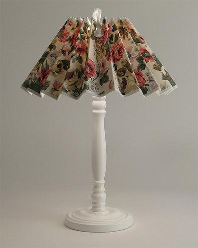 Pied de lampe Colibri avec Abat-jour plissé fleurs Anglaises.