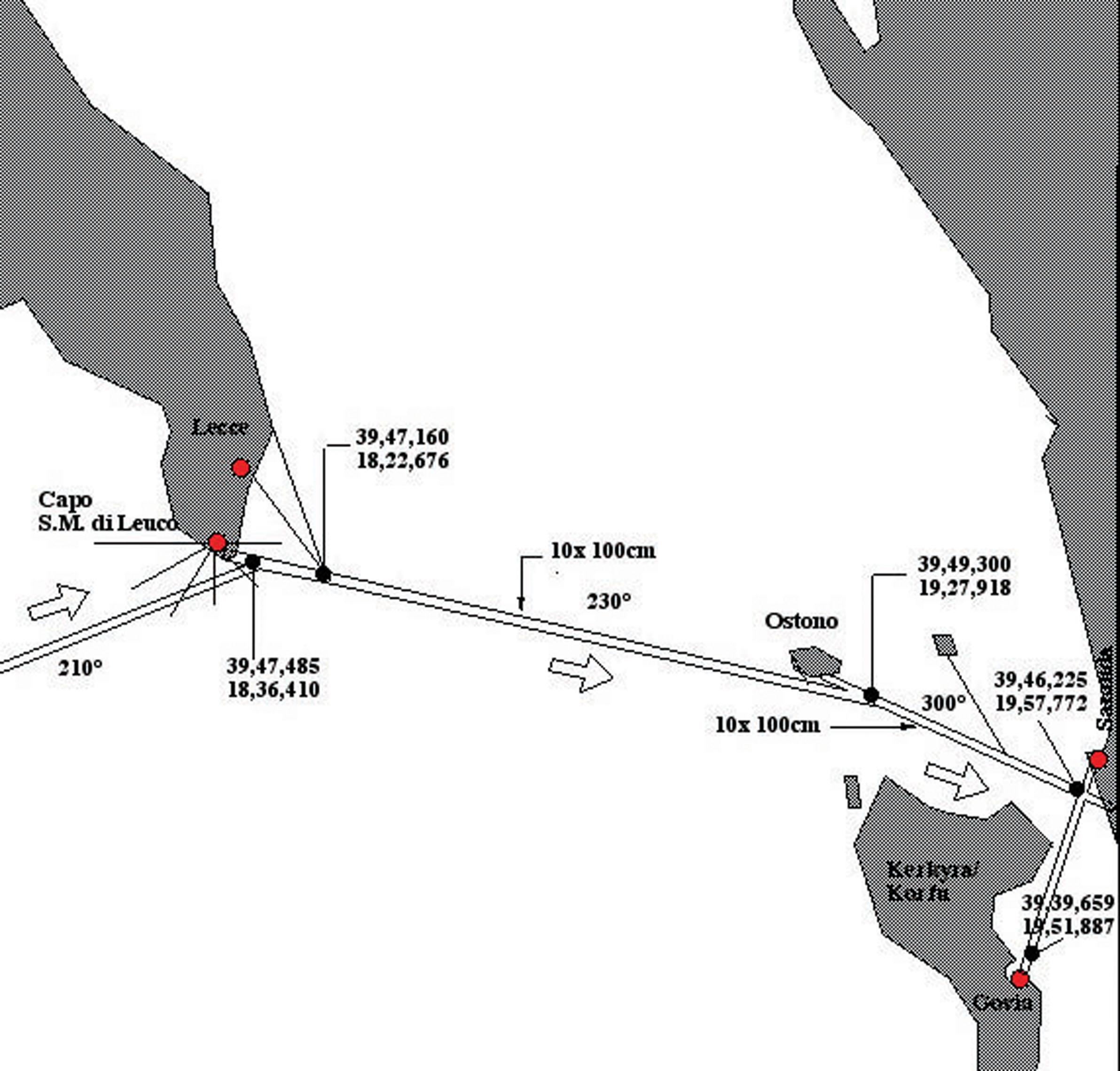 Adernlinie von Corfu nach Cabo Leuca