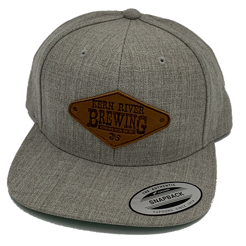 Grey Snapback with Leather Patch