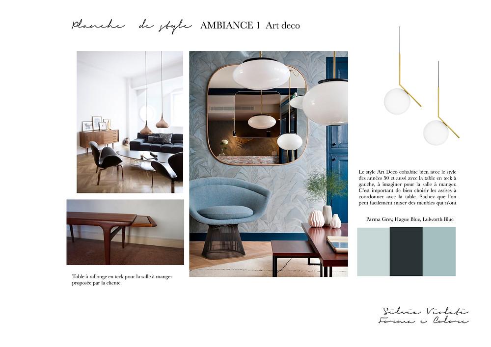 Planche de style Art Déco par Forma e Colore, Silvia Violati, Décoratrice UFDI sur Paris.