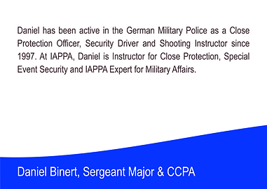 Daniel Binnert - Military Police of the International Association of Personal Protection Agents
