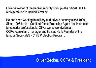 Oliver Becker - President of the International Association of Personal Protection Agents